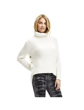 Scoop Women's Ribbed Turtleneck Sweater With Side Buttons by Scoop