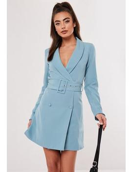 Blue Self Belted Blazer Dress by Missguided
