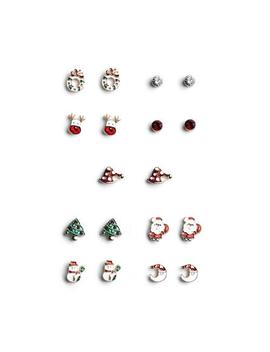 Christmas Stud Earrings 9 Pk by Primark