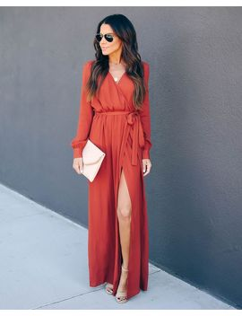 Long Sleeve Solid Bardot Wrap Maxi Dress   Terracotta by Vici