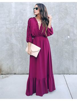 Set The City On Fire Ruffle Maxi Dress   Wine by Vici