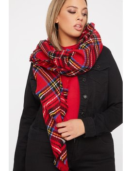 Knit Red Plaid Scarf by Urban Planet