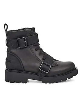 Noe Mixed Media Leather Combat Boots by Ugg