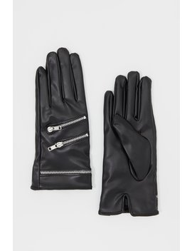 Zipper Faux Leather Gloves by Urban Planet