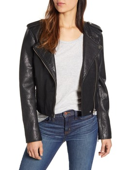 Pebble Leather Moto Jacket by Lucky Brand