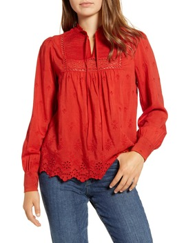 Cora Pintuck Embroidered Eyelet Peasant Blouse by Lucky Brand