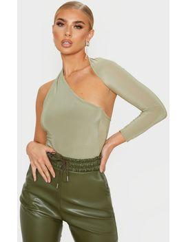 Sage One Shoulder Asymmetric Bodysuit by Prettylittlething
