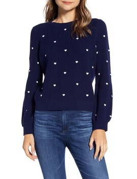 Embroidered Heart Sweater by Lucky Brand