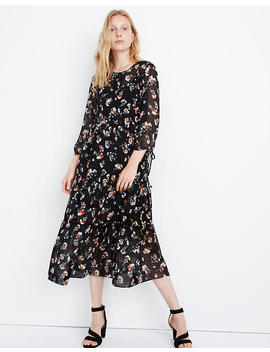 Sheer Button Front Tier Midi Dress In Carnation Toss by Madewell