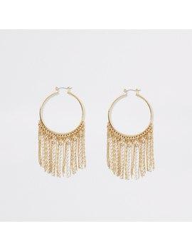 Gold Colour Fringe Hoop Earrings by River Island