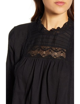 Lace Yoke Cotton Peasant Blouse by Lucky Brand