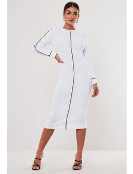 Petite White High Neck Rib Piped Midi Dress by Missguided