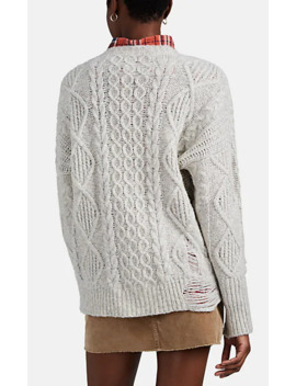 Shredded Cable Knit Wool Blend Sweater by Nsf