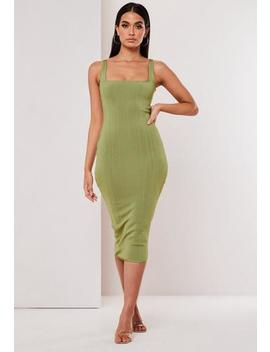 Premium Olive Scoop Neck Bandage Midi Dress by Missguided