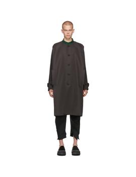 Grey Collarless Long Coat by 132 5. Issey Miyake