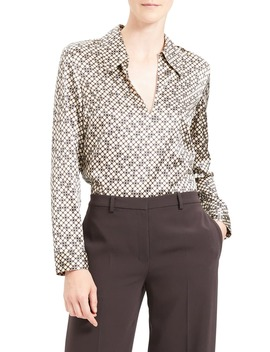 Geometric Print Stretch Silk Blouse by Theory