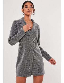 Silver Glitter Wrap Front Blazer Dress by Missguided