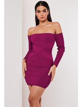 Premium Purple Bandage Bardot Mini Dress by Missguided