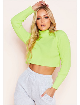 Kati Neon Yellow Ribbed Roll Neck Cropped Jumper by Missy Empire