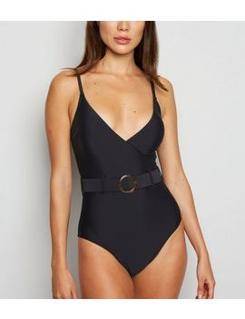 Black Wrap Belted Ring Buckle Swimsuit by New Look