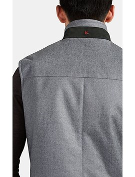 Suede Trimmed Padded Wool Vest by Isaia