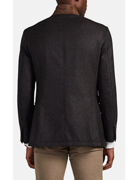 Suede Trimmed Wool Jacket by Brioni