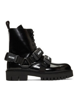 Black Buckle Boots by Moschino