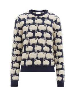 Sheep Jacquard Crew Neck Sweater by Lanvin