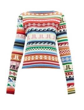 Jl Monogram Jacquard Motif Wool Blend Sweater by Lanvin