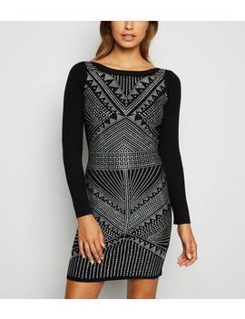 Cameo Rose Black Diamanté Jumper Dress by New Look