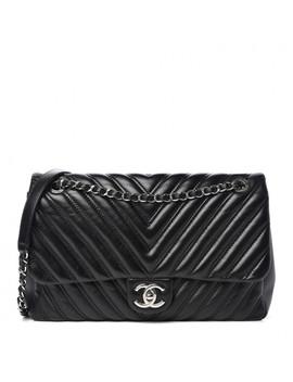 Chanel Lambskin Chevron Double Stitch Jumbo Single Flap Black by Chanel