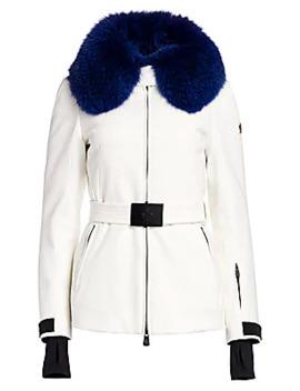 Moncler Ecrins Fox Fur Trimmed Belted Jacket by Moncler Grenoble