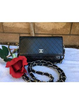 Timeless Wallet On Chain Quilted Black Leather Cross Body Bag by Chanel