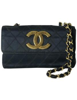 Classic Flap Rare Large Cc Logo Quilted Black Satin Cross Body Bag by Chanel