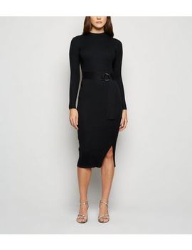 Black Ribbed Knit Ring Belted Midi Dress by New Look