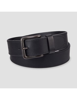 Men's 38mm Leather Jean Belt With Stitch Design And Single Prong Buckle   Goodfellow & Co™ Black by Goodfellow & Co