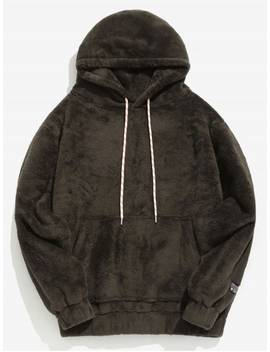 Solid Pouch Pocket Fluffy Hoodie   Taupe M by Zaful