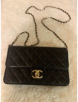 With Gold Hardware Black Lambskin Leather Cross Body Bag by Chanel