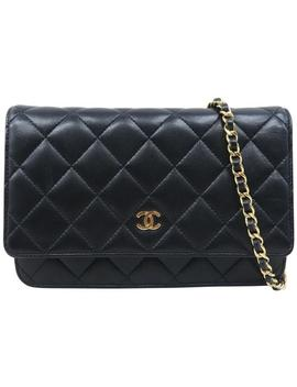 Wallet On Chain Black Lambskin Cross Body Bag by Chanel