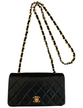 Classic Flap Vintage Quilted Black Lambskin Leather Cross Body Bag by Chanel