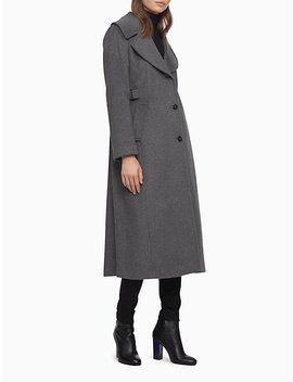 Wool Blend Longline 3 Button Coat by Calvin Klein
