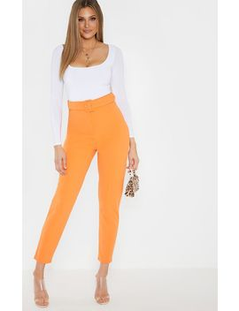 Tall Bright Orange High Waisted Belt Detail Pants  by Prettylittlething