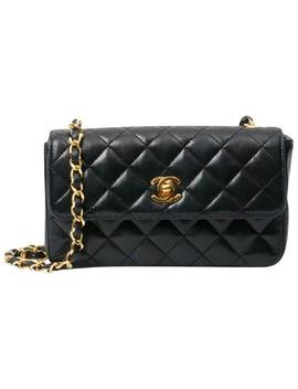 Classic Flap Vintage Small Quilted Black Lambskin Leather Cross Body Bag by Chanel