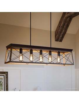"""Luxury Industrial Chic Island/Linear Chandelier, 9""""H X 38""""W, With Modern Farmhouse Style, Olde Bronze Finish By Urban Ambiance by Urban Ambiance"""