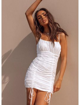 Duska Mini Dress White by Princess Polly