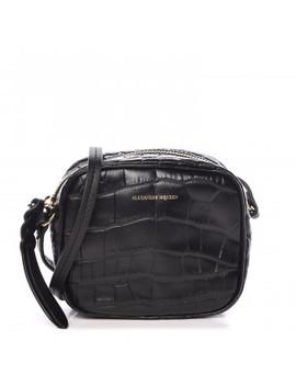 Alexander Mcqueen Crocodile Embossed Calfskin Mini Camera Shoulder Bag Black by Alexander Mc Queen