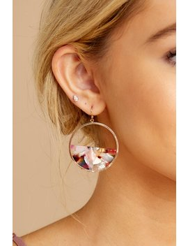 All Day Pink Multi Tortoise Acrylic Earrings by Joia