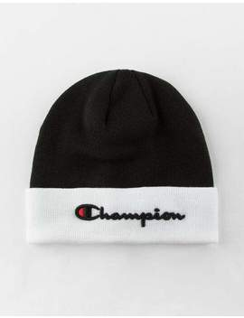 Champion Embroidered Script Logo Black Beanie by Champion