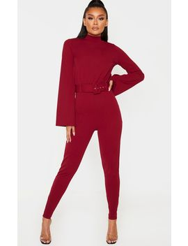 Burgundy Belt Detail High Neck Long Sleeve Jumpsuit by Prettylittlething
