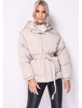 Oversized Wet Look Belted Hooded Puffer Coat Beige by Lily Lulu Fashion